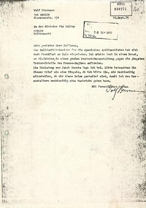 Reiseantrag Wolf Biermanns an das DDR-Kulturministerium vom 19.09.1975