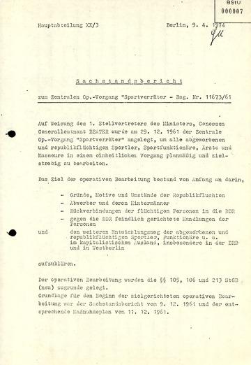 "Sachstandsbericht zum Zentralen Operativen Vorgang ""Sportverräter"""