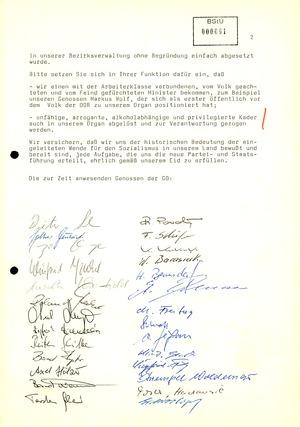 Schreiben der SED-Grundorganisation der BV Erfurt an den Vorsitzenden des Ministerrates Hans Modrow