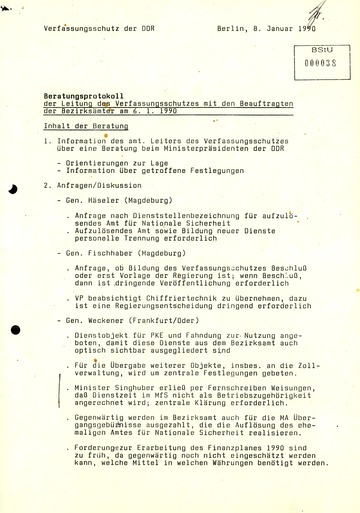 """""""Beratungsprotokoll der Leitung des Verfassungsschutzes mit den Beauftragten der Bezirksämter"""""""