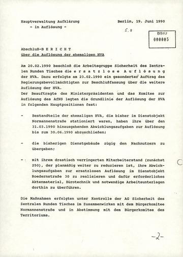 Beschluss der AG Sicherheit des Zentralen Runden Tisches zur Auflösung der HV A