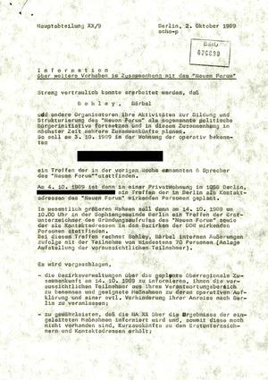 """Information über """"weitere Vorhaben im Zusammenhang mit den 'Neuen Forum'"""""""