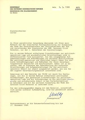 Referat Mielkes auf der erweiterten Sitzung des MfS-Kollegiums vom 9. März 1988