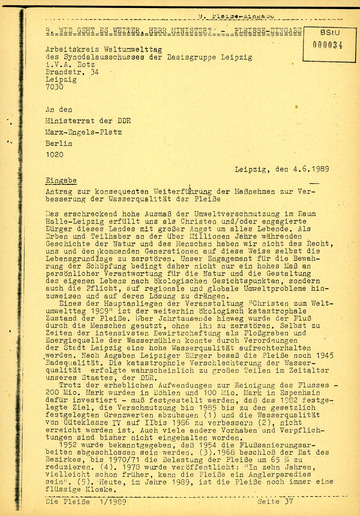 Eingabe zur Pleiße an den Ministerrat der DDR