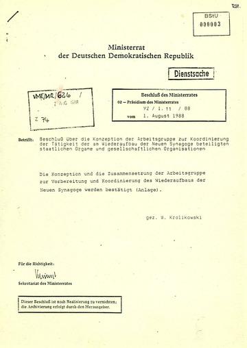 Beschluss des Ministerrats über die Konzeption der Arbeitsgruppe zum Wiederaufbau der Synagoge