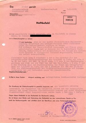 Haftbefehl gegen Albert Schuster wegen Kriegsverbrechen während des 2. Weltkriegs