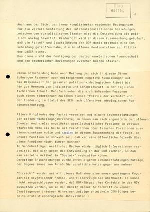 """Reaktionen der Bevölkerung auf die Streichung des """"Sputnik"""" von der Postzeitungsvertriebsliste der DDR"""