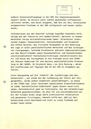 Reaktionen der DDR-Bevölkerung auf das Plenum des ZK der KPdSU