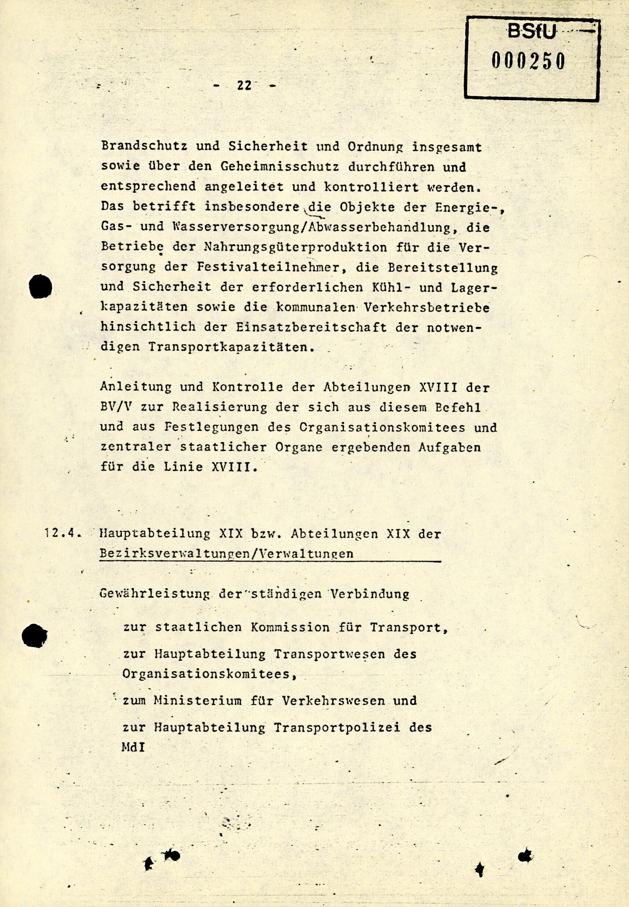 Befehl Nr. 13/73 zur Sicherung der X. Weltfestspiele der Jugend in ...
