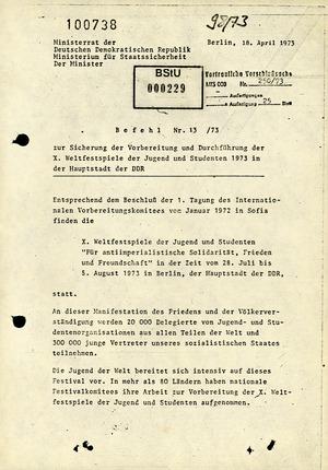 Befehl Nr. 13/73 zur Sicherung der X. Weltfestspiele der Jugend in Ost-Berlin