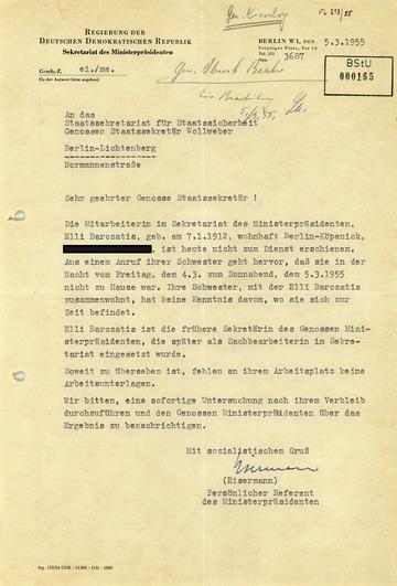Amtshilfeantrag des persönlichen Referenten Otto Grotewohls zum Verbleib von Elli Barczatis