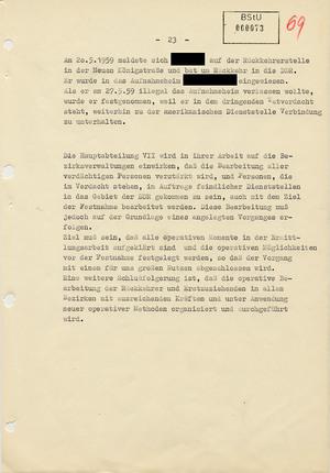 Bericht über die operative Bearbeitung von Rückkehrern in die DDR