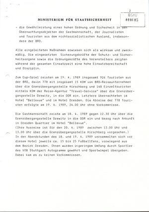 Information über das Europapokal-Halbfinale zwischen Dynamo Dresden und dem VfB Stuttgart in Dresden