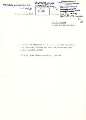Analyse der Struktur und Tätigkeit der INSCOM und der USAFSA