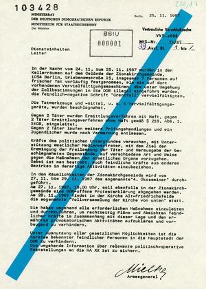 """Schreiben des Minister Mielke an die Leiter der Diensteinheiten zur Aktion """"Falle"""""""