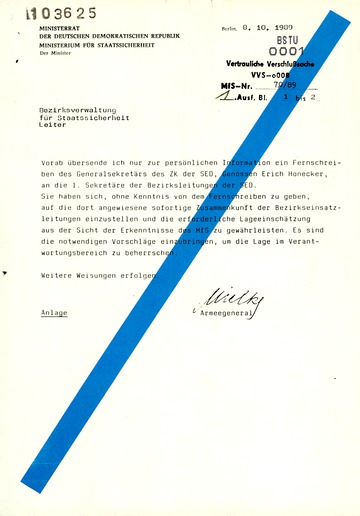 Fernschreiben des Generalsekretärs Honecker an die SED-Bezirksleitungen