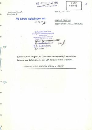 Ananlyse der Struktur und Tätigkeit derUS Army Field Station Berlin (USAFSB) Teufelsberg