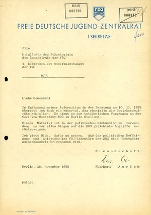 Schreiben des Ersten Sekretärs des FDJ-Zentralrats zu den Ereignissen an der Carl-von-Ossietzky-Schule