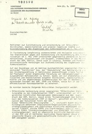 Maßnahmeplan des Ministers für Staatssicherheit zur Zurückweisung und Unterbindung von Aktivitäten oppositioneller Kräfte zur Diskreditierung der Ergebnisse der Kommunalwahlen 1989