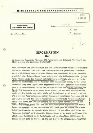 Informationen über Äußerungen führender SPD-Politiker zum SED-SPD-Grundsatzdokument
