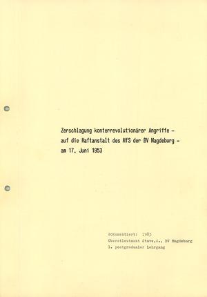 Dokumentation des Sturms auf die Volkspolizei in Magdeburg-Sudenburg