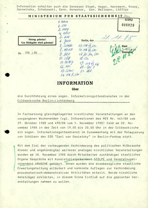 Bericht zu einem Gottesdienst in der Erlöserkirche Berlin-Lichtenberg