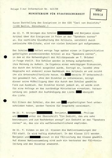 """""""Kurze Darstellung der Ereignisse"""" an der Carl von Ossietzky-Schule"""