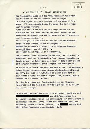 Geheimer Bericht an die SED-Führung im Bezirk Suhl zum Wasunger Karneval 1978