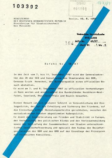 """Befehl Nr. 12/87 zur Aktion """"Dialog 87"""""""
