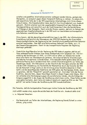 """Bericht zur """"Entwicklung der Krise der Koalition und zum Verfall der Autorität"""" Willy Brandts"""