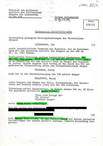 Hinweise zum geplanten Auftritt Udo Lindenbergs im Palast der Republik