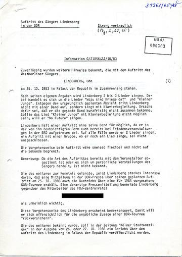 Informationen zum Auftritt des Sängers Udo Lindenberg im Palast der Republik