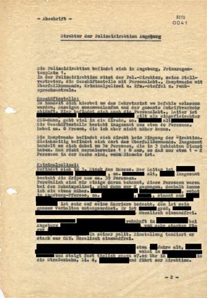Bericht über die Struktur der Polizeidirektion Augsburg