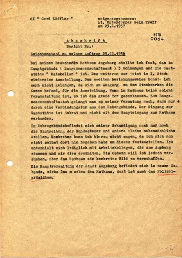 """Bericht des GI """"Gerd Löffler"""" über das Rathaus Augsburg"""