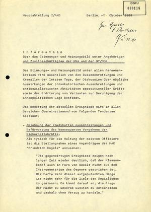 Stimmungs- und Meinungsbild unter Angehörigen und Zivilbeschäftigten der NVA und der GT/DDR
