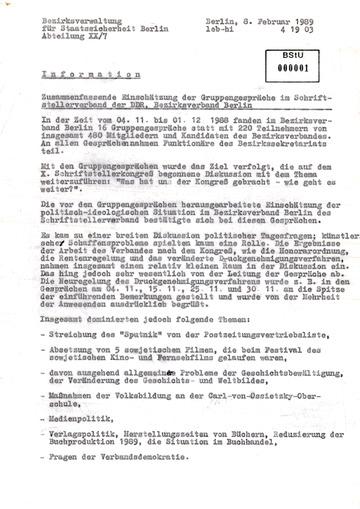 Bericht der BV Berlin zu Gruppengesprächen im Schriftstellerverband der DDR