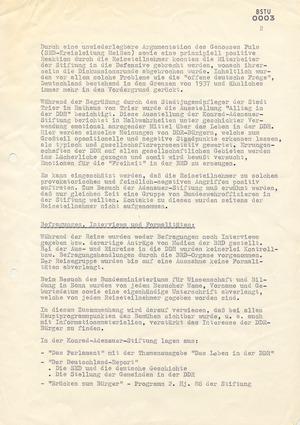 """Bericht von IMK """"Paul"""" über eine Reise von Jugendlichen aus der DDR nach Bonn und Trier"""