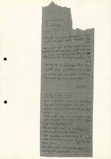 Konfiszierte Aufzeichnungen einer Gefangenen in Stasi-Untersuchungshaft