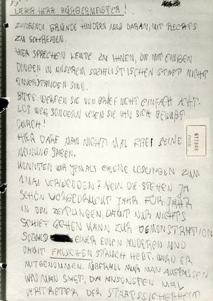 Sichergestellter Brief an den Bürgermeister von Rostock