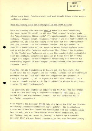 """""""Monatsübersicht 8/89 über aktuelle Probleme der Lageentwicklung in sozialistischen Staaten"""""""