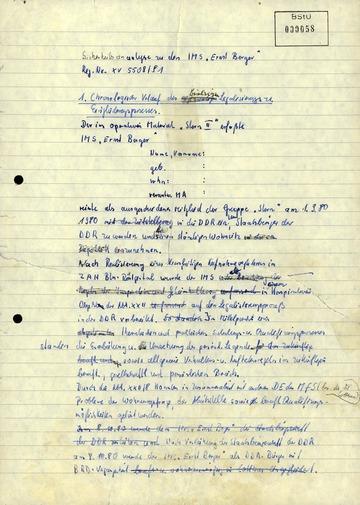 """Chronologischer Verlauf der Eingliederung von """"Ernst Berger"""" (Susanne Albrecht) in die DDR"""