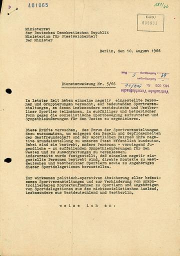 Dienstanweisung Nr. 5/66 zur Absicherung von Sportveranstaltungen und zur Verhinderung von Kontakten zu westlichen Sportlern