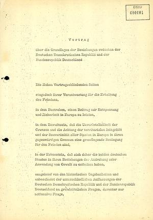 Vertrag über die Grundlagen der Beziehungen zwischen der Deutschen Demokratischen Republik und der Bundesrepublik Deutschland