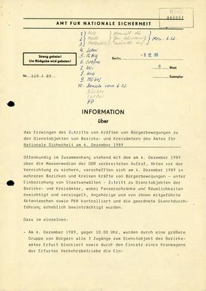 Information über Zutritt von Bürgern zu Dienstobjekten
