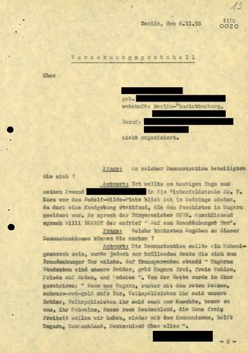 """Vernehmungsprotokoll eines West-Berliners wegen """"Kriegshetze"""""""