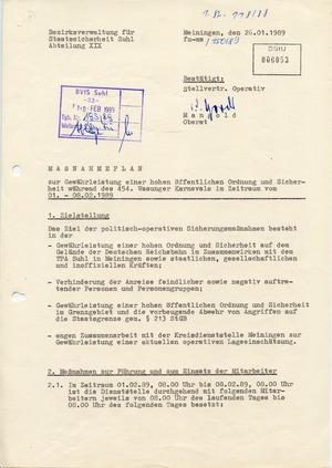 """""""Maßnahmeplan"""" zur """"Gewährung von Sicherheit und Ordnung"""" während des Wasunger Karnevals 1989"""