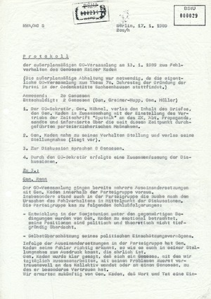 """Protokoll der außerplanmäßigen GO-Versammlung zum """"Fehlverhalten"""" eines Mitarbeiters"""
