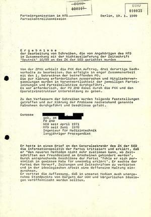 """Eingaben MfS-Angehöriger gegen das """"Sputnik""""-Verbot"""