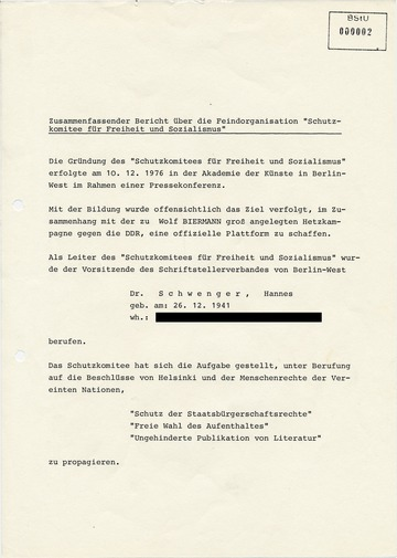 """Bericht über die westdeutsche Menschenrechtsgruppe """"Schutzkomitee für Freiheit und Sozialismus"""""""