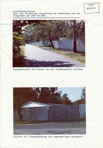 Fotos der Umzäunung und des Eingangs des Zentralen Aufnahmeheims Röntgental